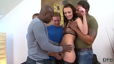 Teen gangbang fucked by 4 men hardcore and rough big cocks black and white