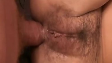 Hairy amateur anal fuck in bed