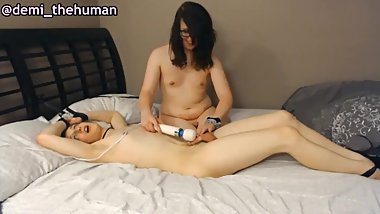 Cute Lesbian Trans Couple Tries BDSM ^-^