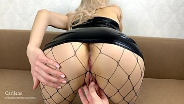 Blonde in black latex dress got creampie