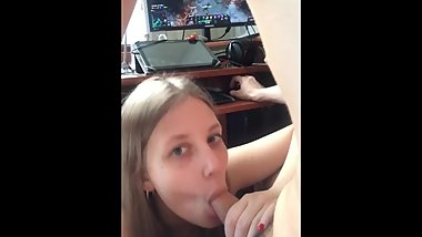 Blowjob While Playing Video Game