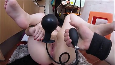 Nerdy girl wants to stretch their pussy - with cock and inflatable plug