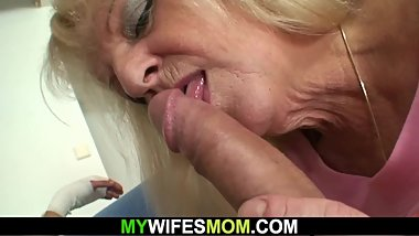 Very old blonde granny rides his big meat