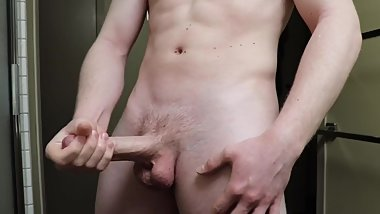 Big Dick Military Teen Jerks Off With Two Hands W/ Huge Cumshot
