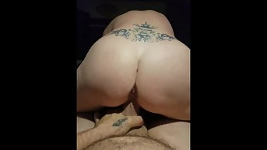 Reverse cowgirl, mature woman rides young hung man