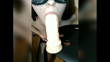 Homemade deepthroat oral dildo with spit and masturbation anal and orgasm