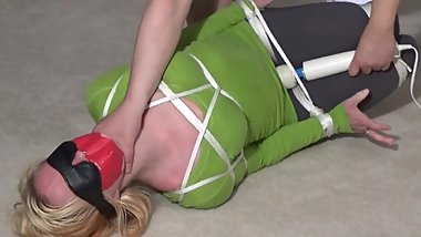 Hogtied, gagged, blindfolded and vibed in yoga pants