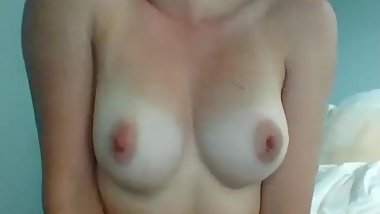 Cute 18 year old High school girl playing with boobs