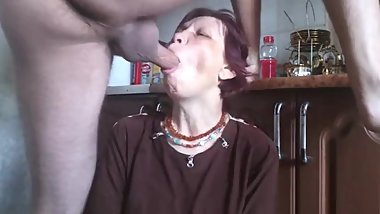 Mature mom getting rough deepthroat fuck ends cum on her face