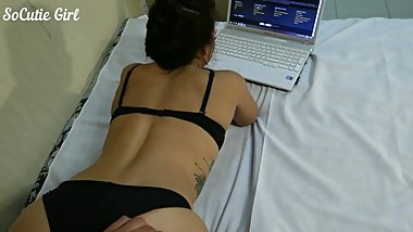 He caught me watching porn and fucked my pussy from behind. SoCutie Girl