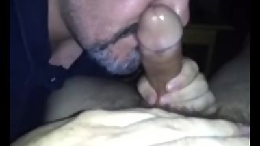 Mature Bear Worships Thick Young Cock
