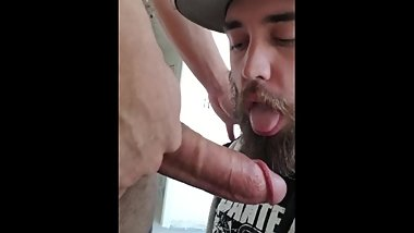 SUCKING A FAT COCK DURING A HOUSE RENOVATION