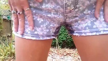 Young teen pees shorts