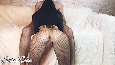 Hot girl in mesh tights jumps on top and sucks a big dick