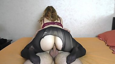 Teen Big Ass in Pantyhose Twerking on Cock