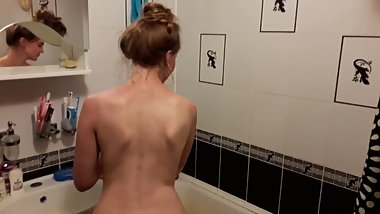Getting ready for the shower - clit masturbation with shower water
