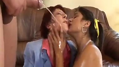 Mother and daughter lick ass and fuck!