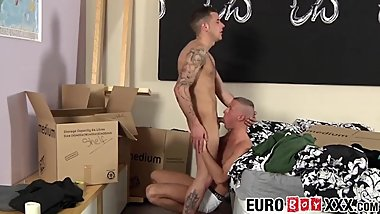 European jock barebacking lover before dripping jizz