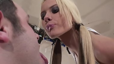 Hot British slut snots and spits on ugly guy!