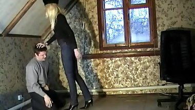 Clothed russian blonde ballbusting