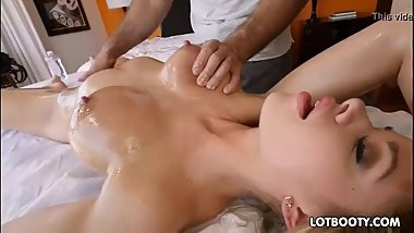 Hot big tits and booty blonde gets massage
