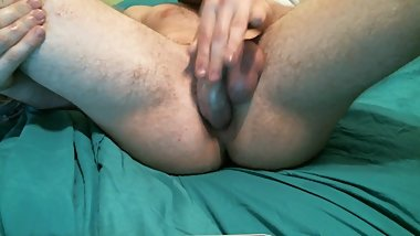Teen cums in his own ass