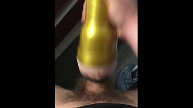 Hard cock play with fleshlight and cum