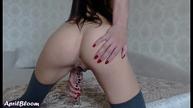 Perfect Teen 18yo Plays with a Huge Glass Dildo and has a Shaking Orgasm