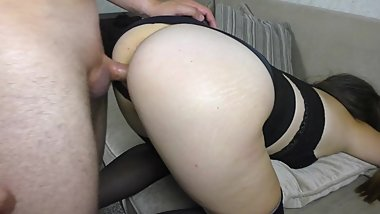 Big Ass Schoolgirl has sex in Stockings