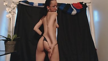 Sexy Young Petite Hairy Goth Girl Strip Tease Dances Down to Nothing