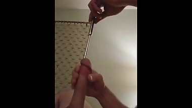 Urethral Vibrator with Flowing Cum First Time 18 Year Old Penis Sounding