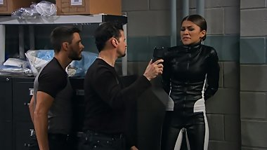 Zendaya Handcuffed and Gagged In Leather Catsuit Scene