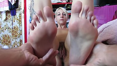 POV Foot Massage from cute couple