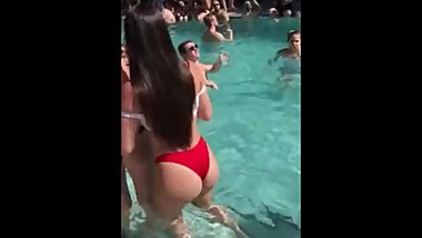 Candid teen bubble butt red bikini pool party