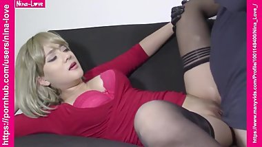 Beautiful short hair blonde gets a creampie