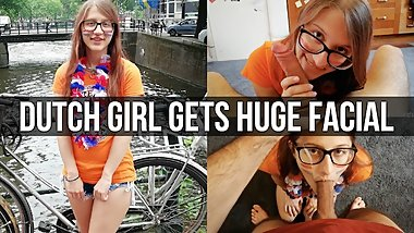 Dutch Girl Gets a Huge Facial