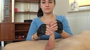 Fingerless gloves - handjob