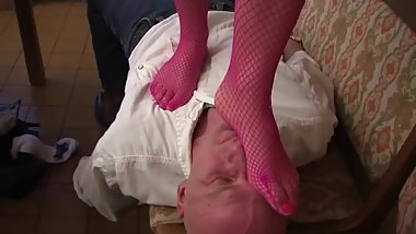 Young mistress trample slave in kitchen