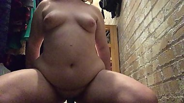 College BBW Riding Dildo