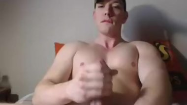 Beefy Straight Muscle Guy Shooting a Big Cum Load