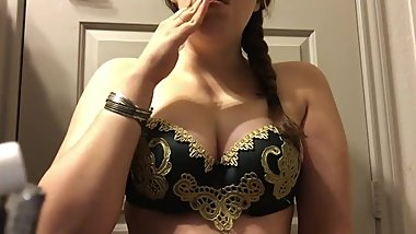 Chubby Warrior Goddess Teen Smoking in Gold and Black Big Natural Tits