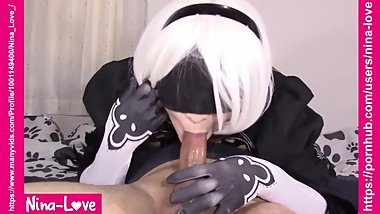 NIER AUTOMATA PORN 2B COSPLAY - 69 blowjob and cum swallow REAL LIFE HENTAI