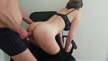 Blindfolded anal sex on a chair with multiple ass to mouth and cum in mouth